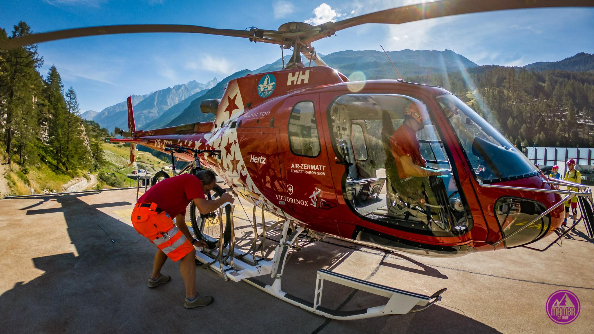 Heli biking - montowanie roweru na helikopter
