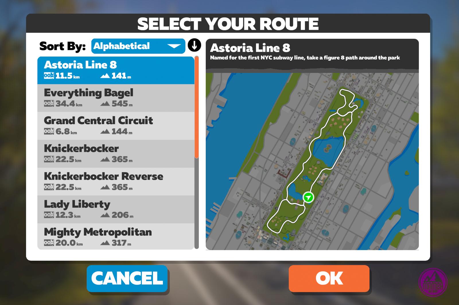 Zwift - wybór trasy