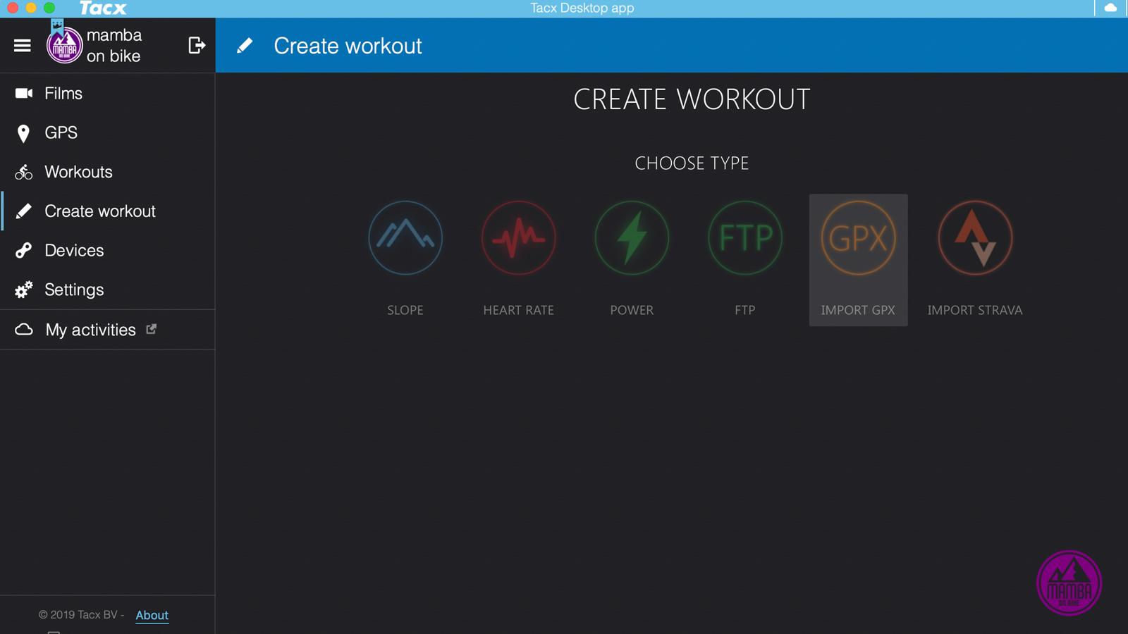 Tacx Desktop App - import gpx