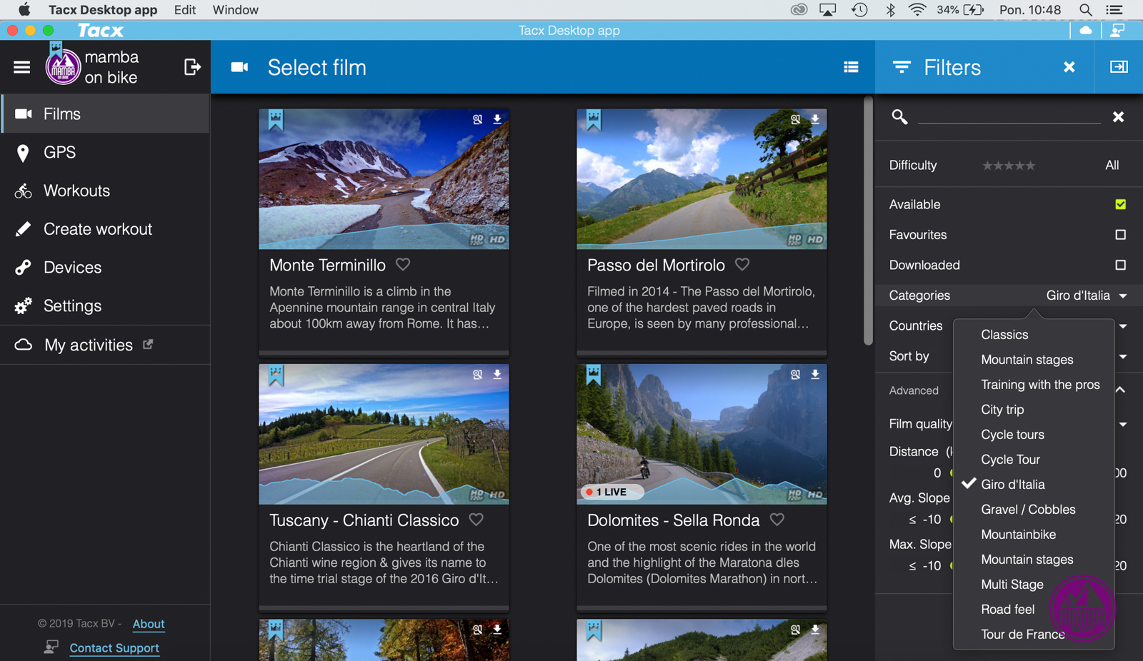 Tacx Desktop App - podjazdy