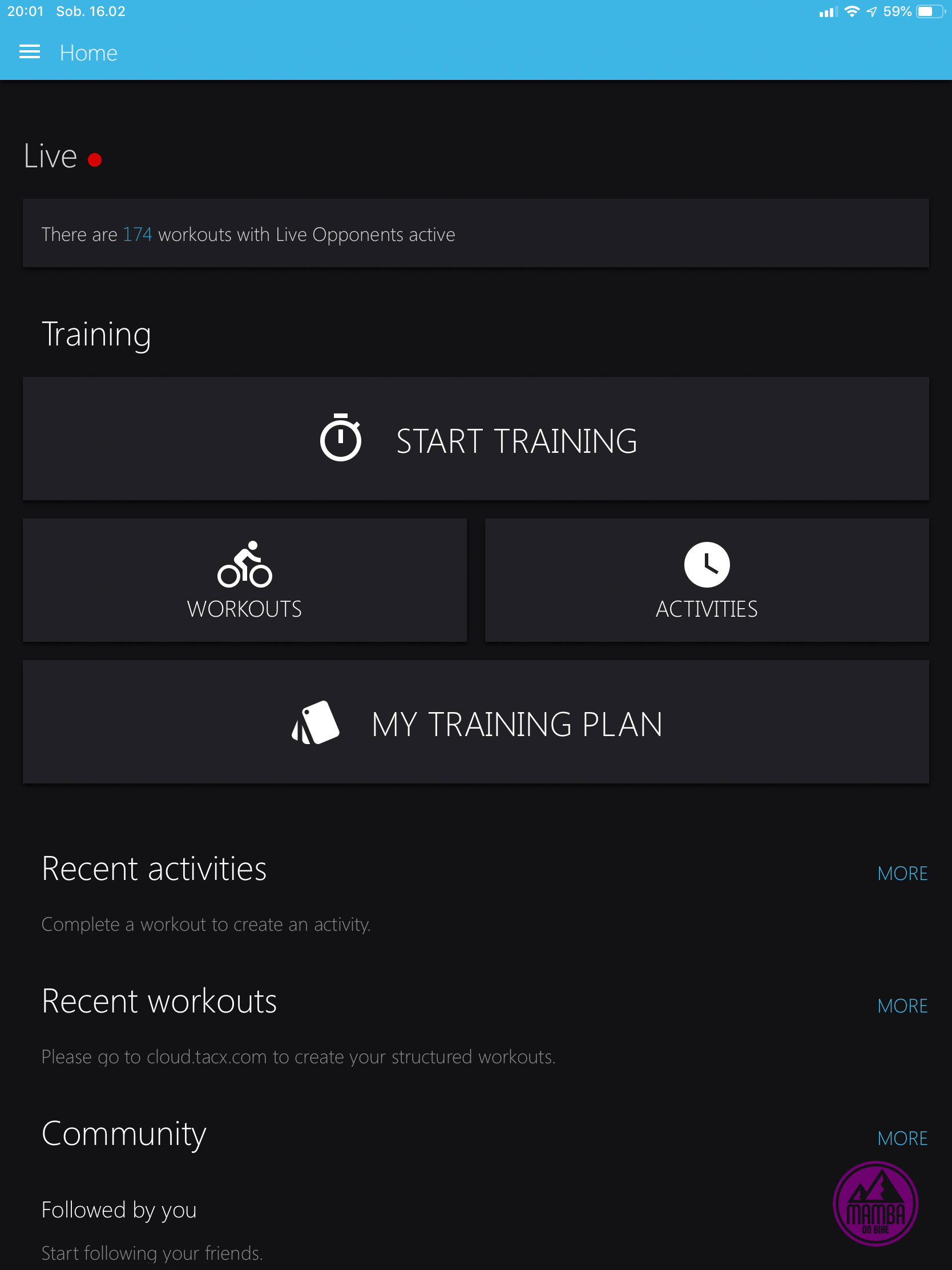 Tacx Training App screen