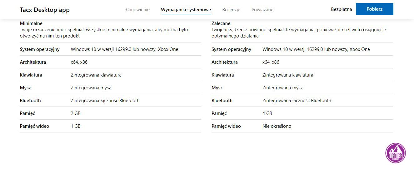 Tacx Desktop App wymagania sprzętowe