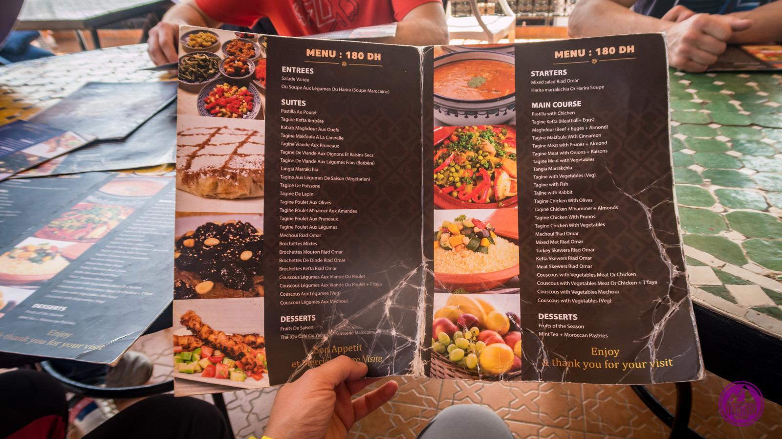 Karta menu Maroko