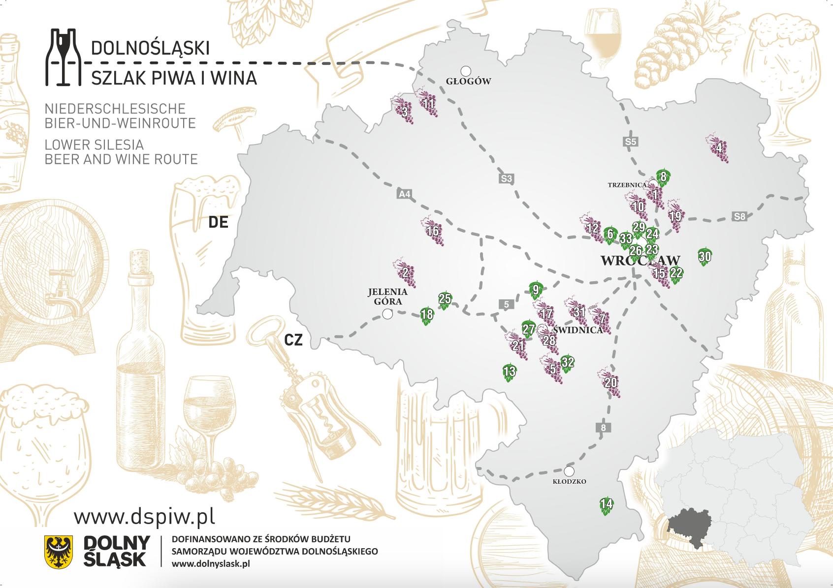 Dolnośląski Szlak Piwa i Wina mapa